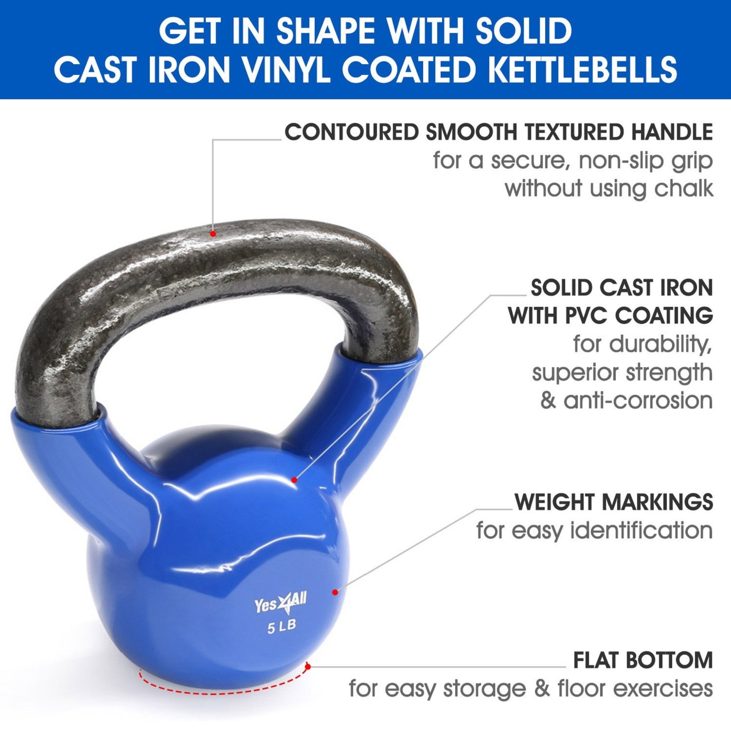 Yes4All Vinyl Coated Kettlebell Weights Set - Great for Full Body Workout and Strength Training - Vinyl Kettlebell 5 lbs by Yes4All (Image #4)