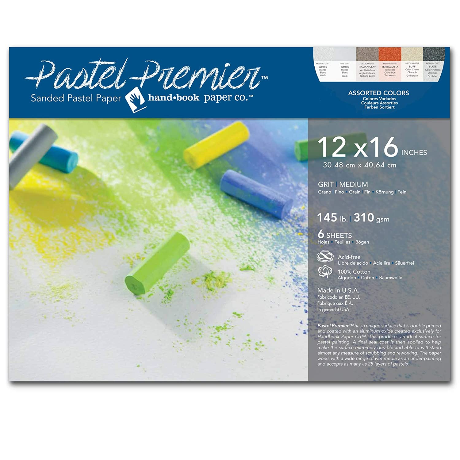 Assorted Colors Speedball Art Products 517046 Premier Sanded Pastel Paper