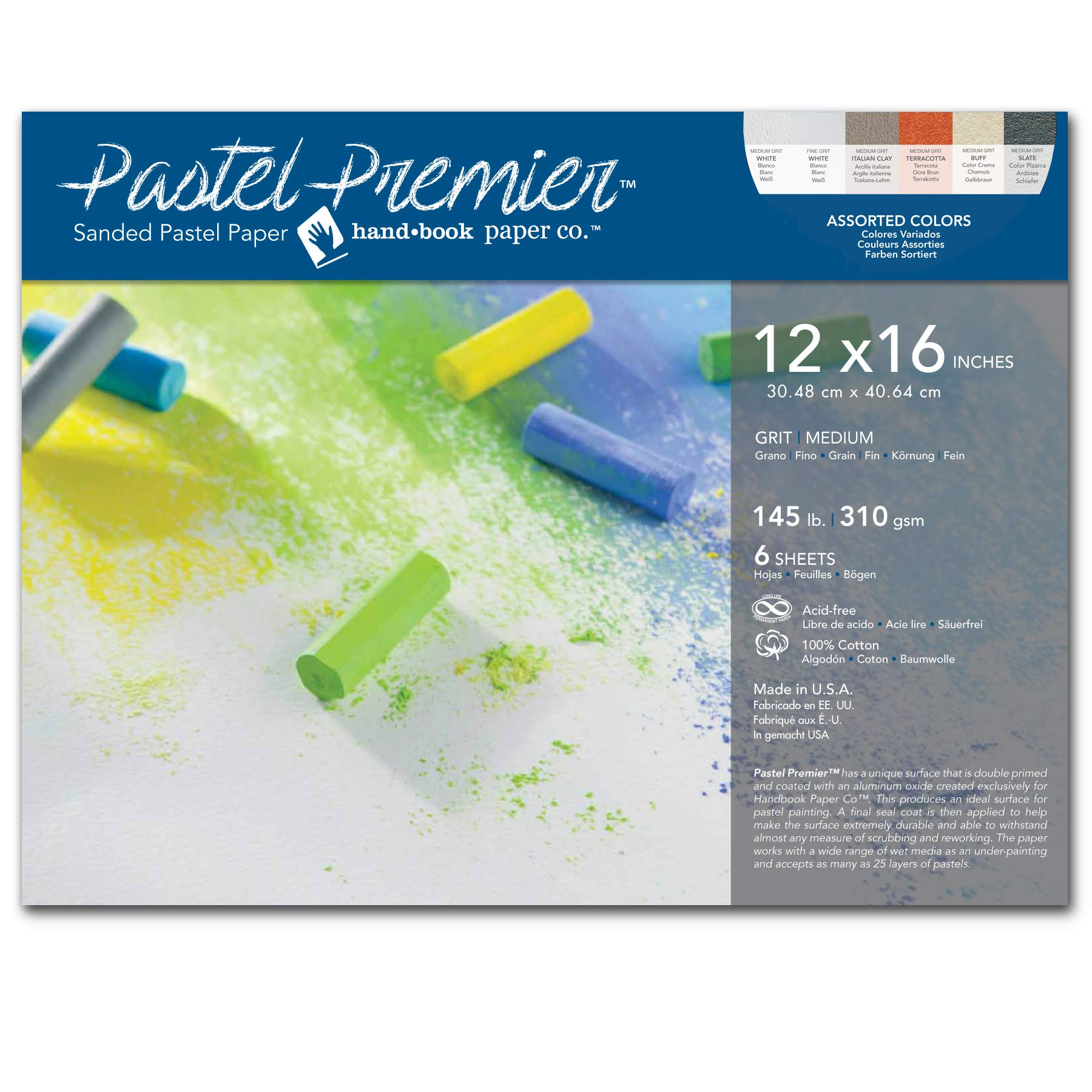 Speedball Art Products 517046 Premier Sanded Pastel Paper, 12 x 16, Assorted Colors by Speedball