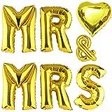 "ballonfritz® Ballon MR & MRS Herz Set in Gold - XXL 40""/102cm - Folienballons als Hochzeit Geschenk, Party Dekoration oder Überraschung"