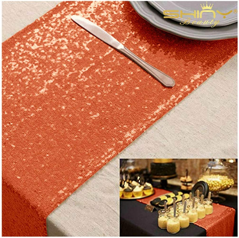 Sequin Table Runner 14x108 Champagne Table Runner for Party Glitter Table Runner 108 Inches Long Dining Table Runner Sparkly Table Cover for Wedding Reception