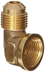 "Anderson Metals Brass Tube Fitting, 90 Degree Elbow, 3/8"" Flare x 3/8"" Female Pipe"