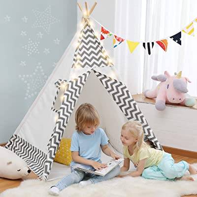OlarHike Teepee Play Tent for Kids, Girl and Boy, Durable Baby Toddler Tents with Window, Colorful Lights, Flag, Carpet, Non-Slip Base: Toys & Games