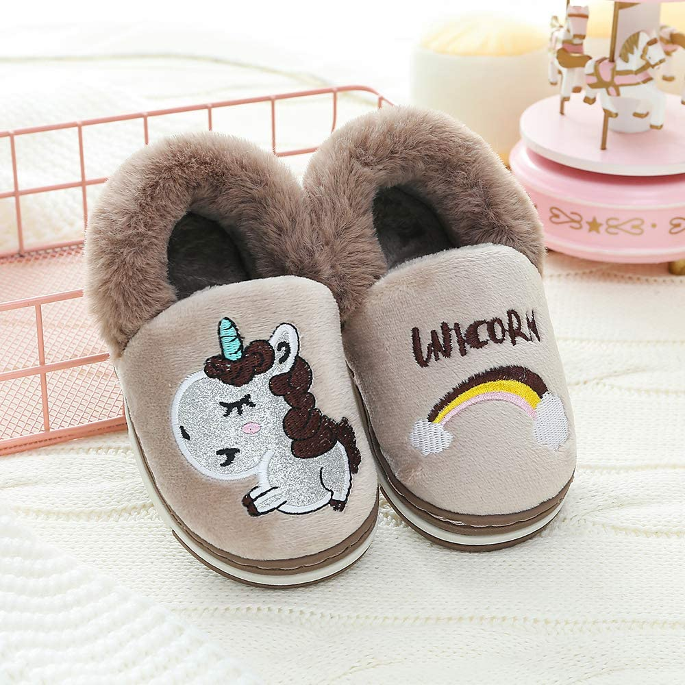 Anti-Skid Boys Girls Unicorn Slippers Cute Animal House Home Slippers for Kids Winter Warm Indoor Ourdoor Shoes Toddler//Little Kid