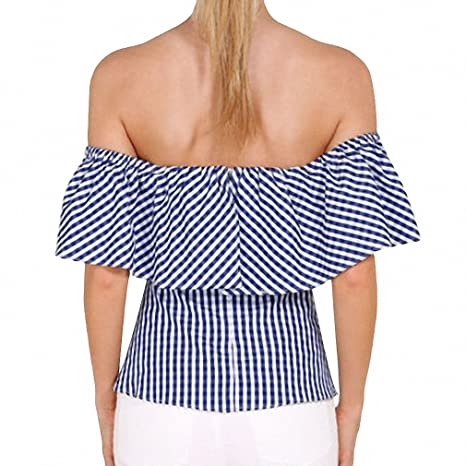 Off Shoulder Sexy Women Tops Ruffles Waist Blouse Shirt Womens Summer Short Sleeve Femme blusa Shirts at Amazon Womens Clothing store: