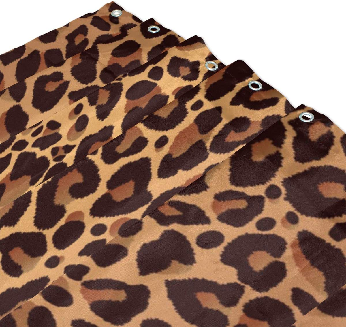 Tenda da Doccia in Stile Vintage Impermeabile Stampa Leopardata con 12 Ganci WowPrint 182 x 182 cm