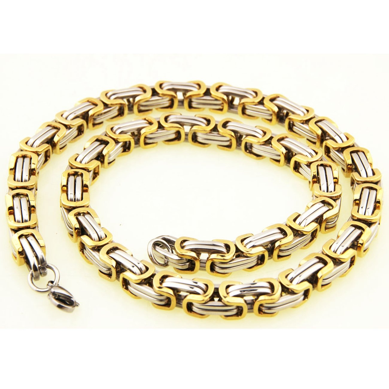 4mm Silver/&Gold Necklace Stainless Steel Byzantine Chain Mens Jewelry,16-40