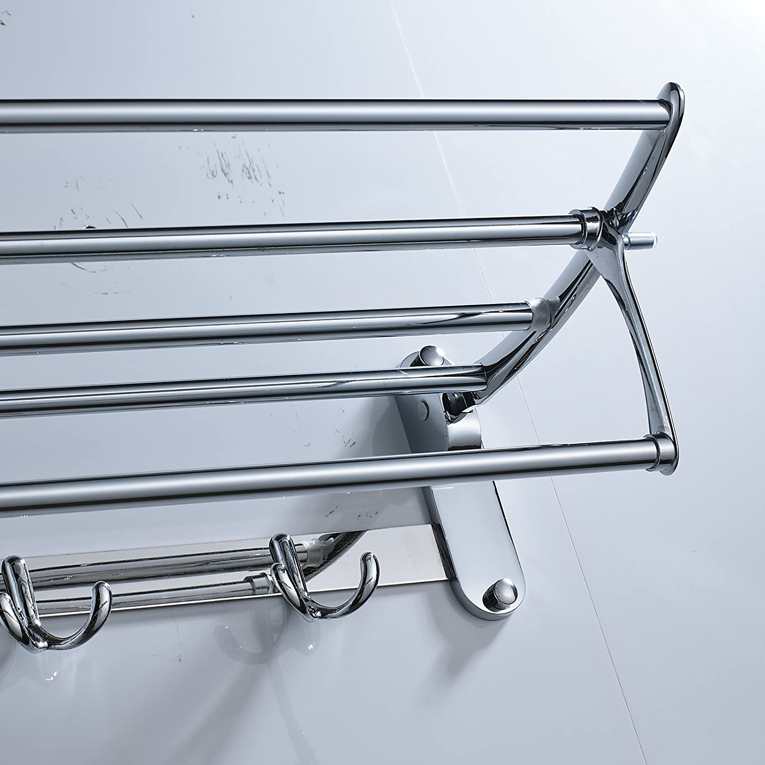 Senlesen 24 inches Chrome Active Folding Towel Rack Towel Shelf ...