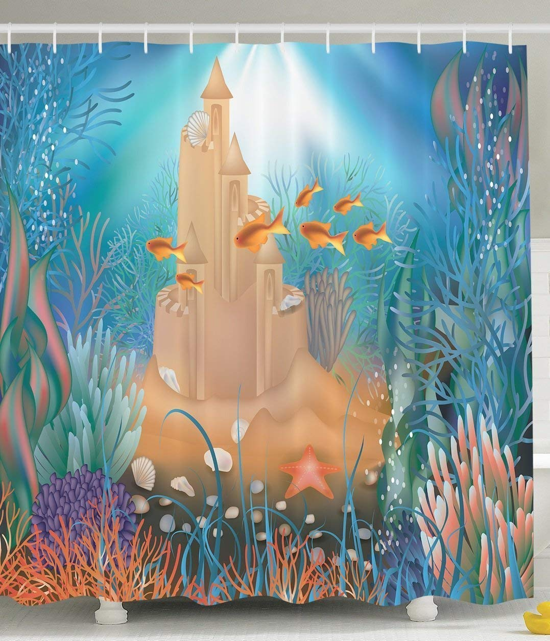 Kids Shower Curtain Nursery Decor 'Fairy Sea Sand Castle Underwater Dream World Sea 'Fairy Star Seashell Modern Art Tropical Fish Decorations for Bathroom Blue Aqua Turquoise Gold Khaki Purple Coral 60 X 72