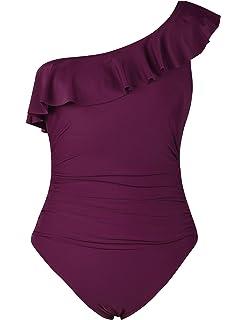 a61dafefe0dd8 Hilor Women's One Piece Swimsuits One Shoulder Swimwear Asymmetric Ruffle  Monokinis Bathing Suits