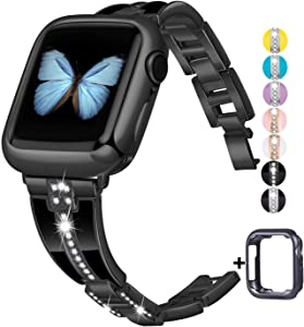 JSGJMY Bling Bands Compatible with Apple Watch Band 38mm 40mm 42mm 44mm with Case,Women Diamond Rhinestone Metal Jewelry Wristband Strap for iwatch Series SE/6/5/4/3/2/1 (Black, 38mm/40mm)