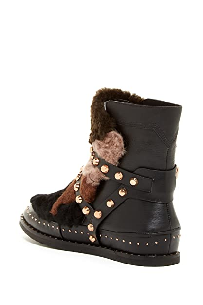 8ca7f373bd8d3 Amazon.com | Ivy Kirzhner Antarctic Black Leather Gold Studded Genuine  Shearling Patchwork Boot (6) | Boots