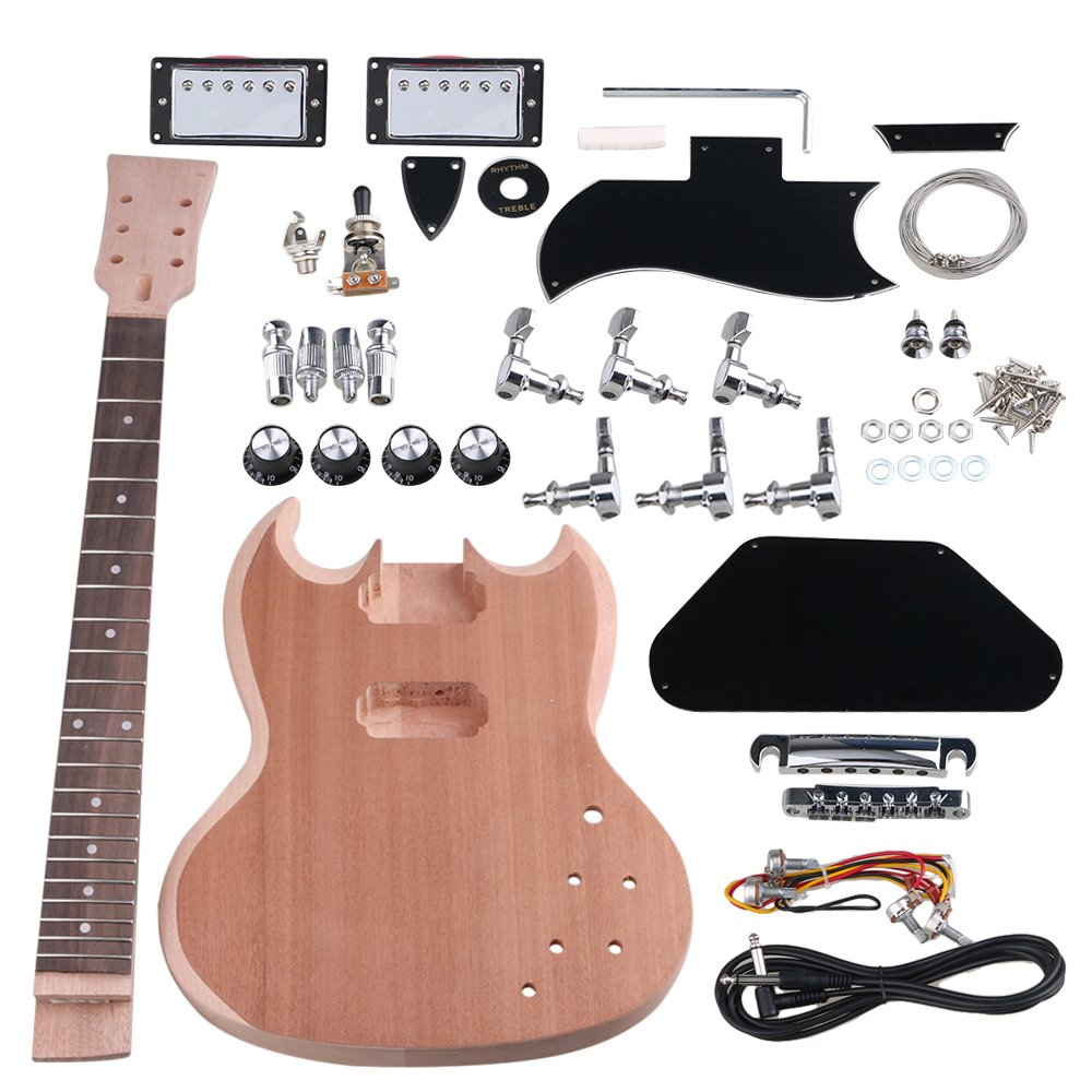 Yibuy Mahogany DIY Closed Double Coil Pickup SG-400 Electric Guitar Body Neck with Tuning Pegs Unfinished Set Accessories etfshop YB4914