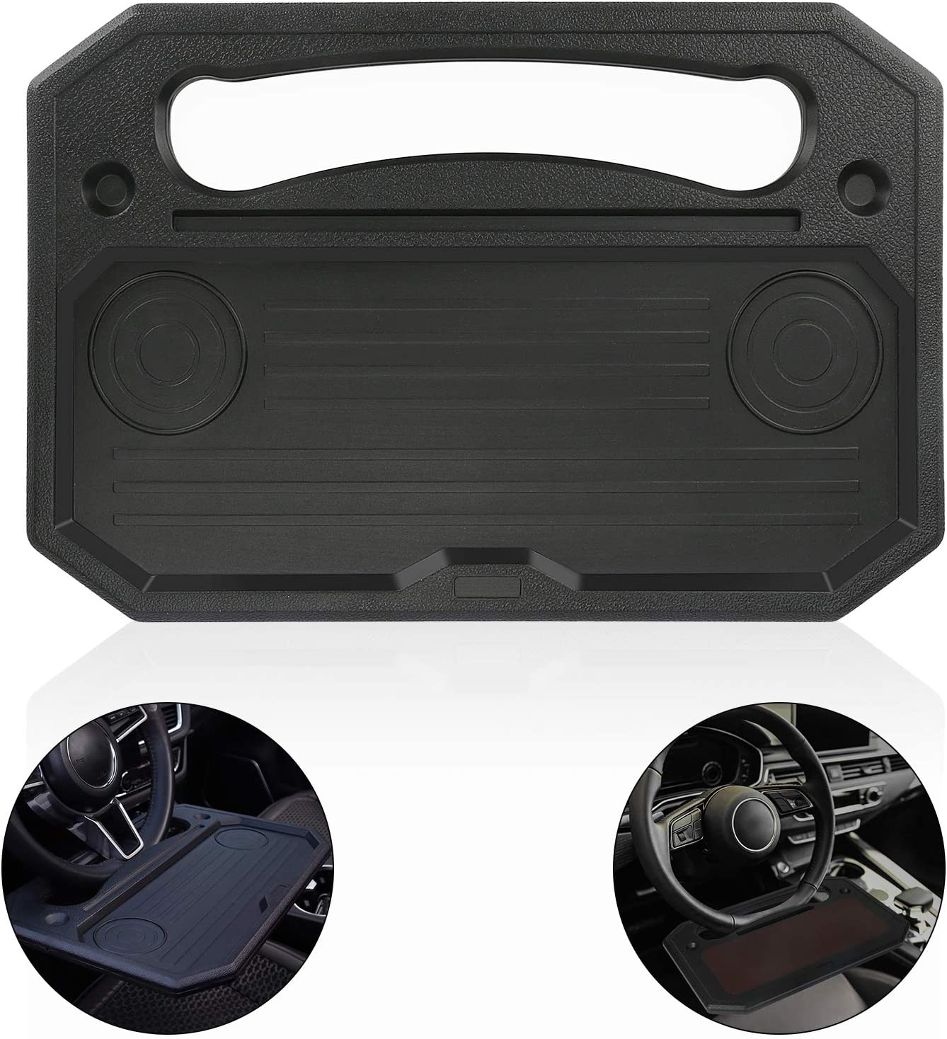 WIOR Steering Wheel Tray/Desk, Two-Sided Car Tray for Food Laptop Computer, Portable Auto Travel Car Desk for Eating Drinking Writing Working, Multifunctional Car Accessories, Fits Most Vehicles-Black