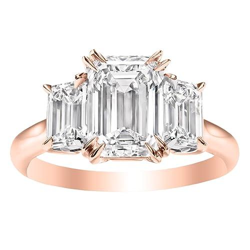 50d65d9ac1e6f 1.5 Carat 14K White Gold Emerald Cut 3 Three Stone Diamond ...