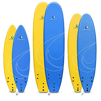 Legacy Soft principiantes Tabla de surf tablas de surf Foamie - 6 ft 7 ft 8 ft, azul: Amazon.es: Deportes y aire libre