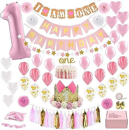 Decorations 1er Anniversaire Bebe Fille Premiere Decoration Party Supplies Set Kit De Theme Or Rose Princesse Chapeau De 1 An Banniere De Joyeux Anniversaire Cake Topper Ballon Decor De Papier Amazon Fr Cuisine