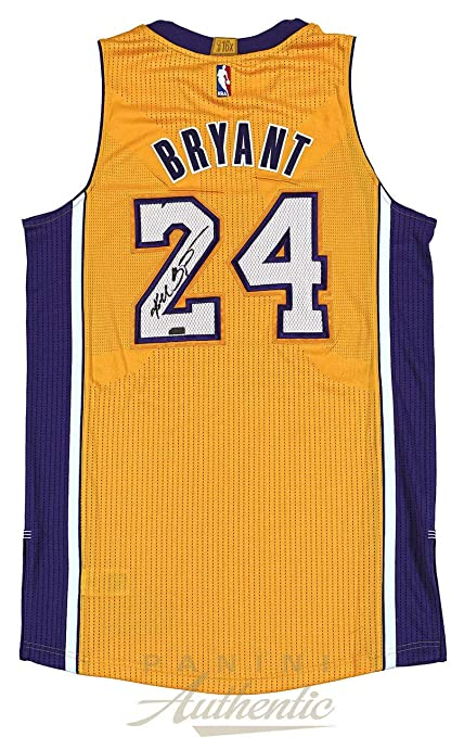 e635bf177fa Kobe Bryant Autographed Signed Memorabilia Authentic Gold Adidas Lakers  Jersey Panini