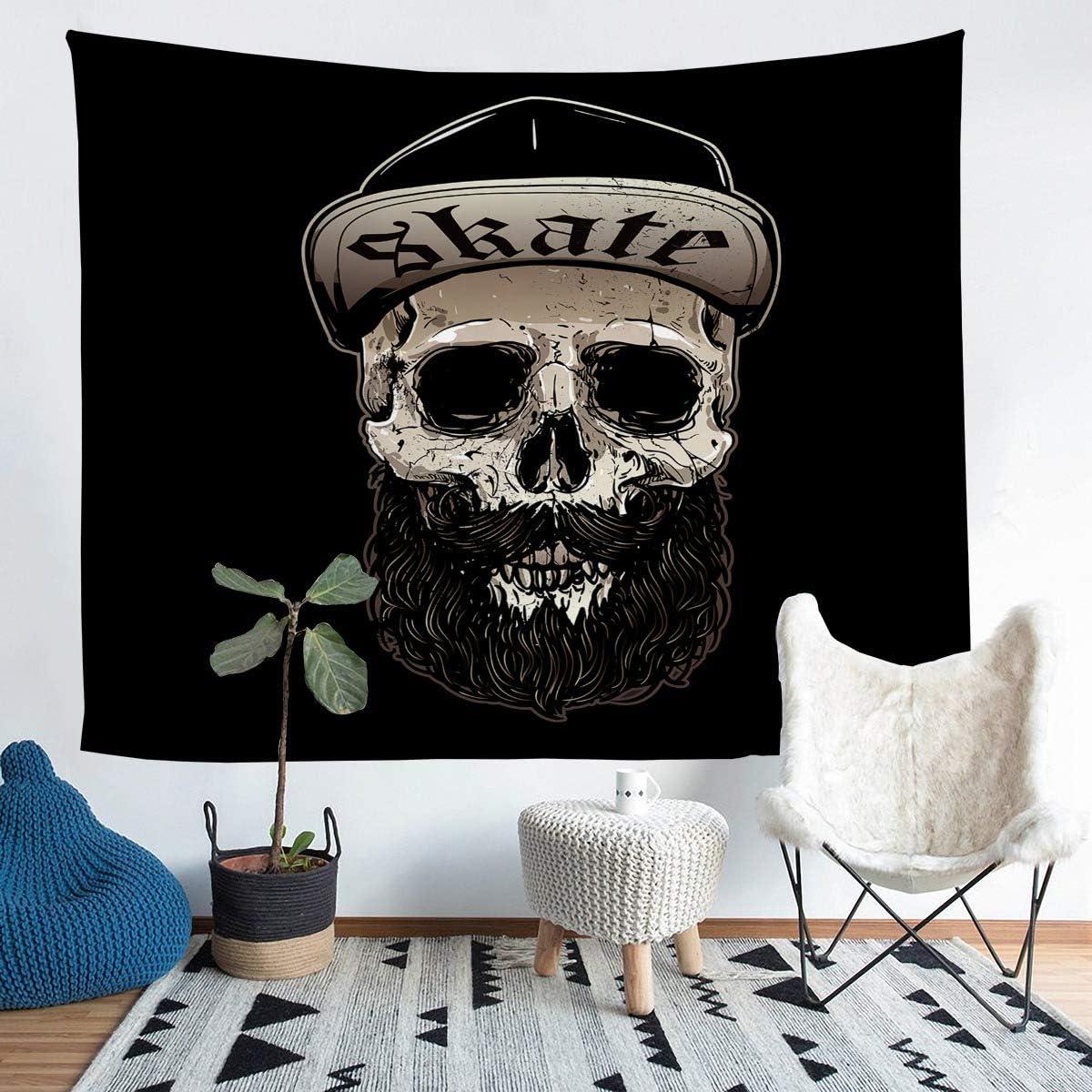 Erosebridal Funny Skull Cover Halloween Bedding Throw Blanket Gothic Tapestries, Beard Tapestry, Black Art Home for Living Room Decoration Medium 59x59, Fashion Outdoor