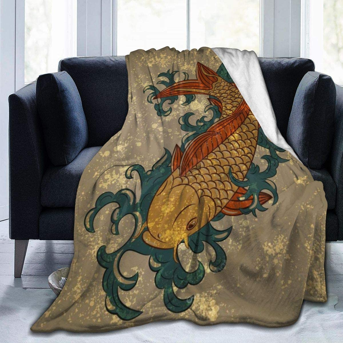 "Japanese Decor Oriental Pattern Koi Fish Throw Fleece Blanket Flannel Ultra Soft Lightweight Microfiber Luxury Air Conditioner Quilt for Sofa Bedroom Office Travel All Season S 50""X40"""