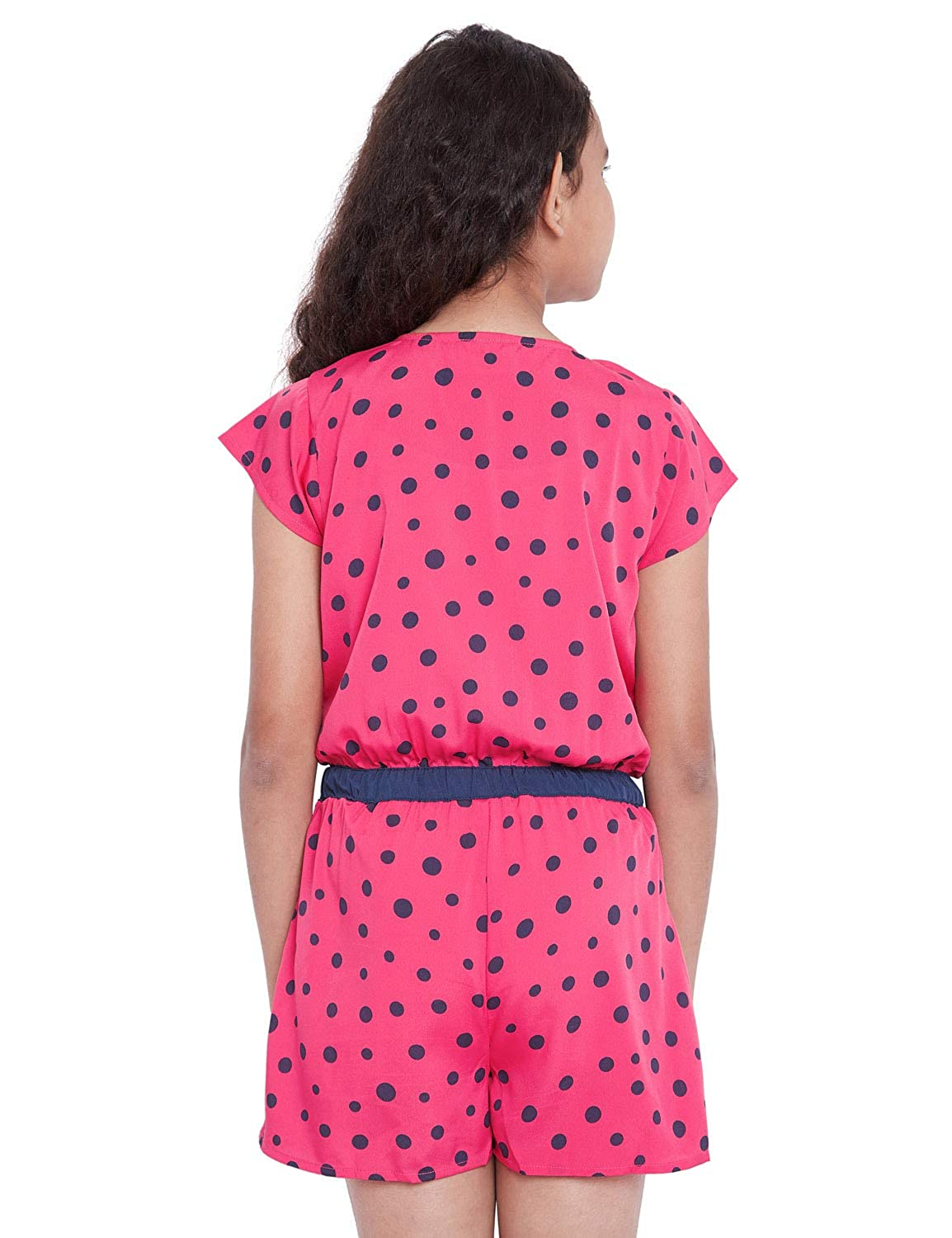 3ff089507c oxolloxo Girl s Round Neck Pink Polka dots Playsuit (Short Sleeves)  Amazon. in  Clothing   Accessories