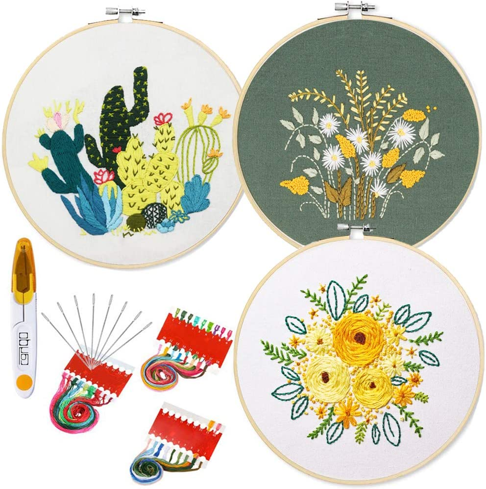 Farbf/äden und Werkzeuge 1 Kunststoff-Stickrahmen Kreuzstich-Set beinhaltet 3 Stickerei-Kleidung mit Blumenmuster Stickerei-Set mit Muster und Anleitung