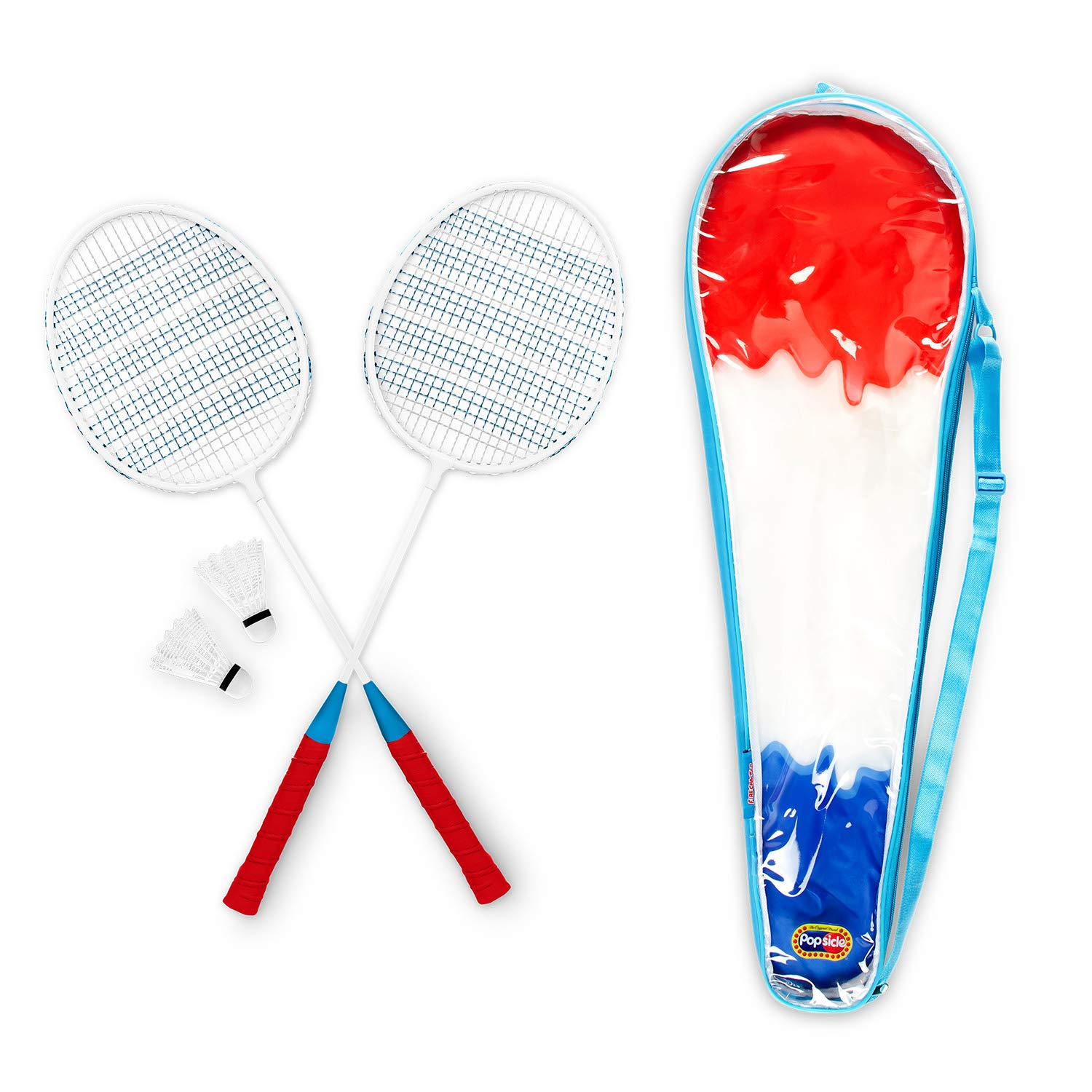 MVMT Popsicle Badminton Set - 2 Rackets, 3 Shuttles, Carrying Case - Colorful, Fun Lawn Games - Family, Beginner, Starter (Firecracker)