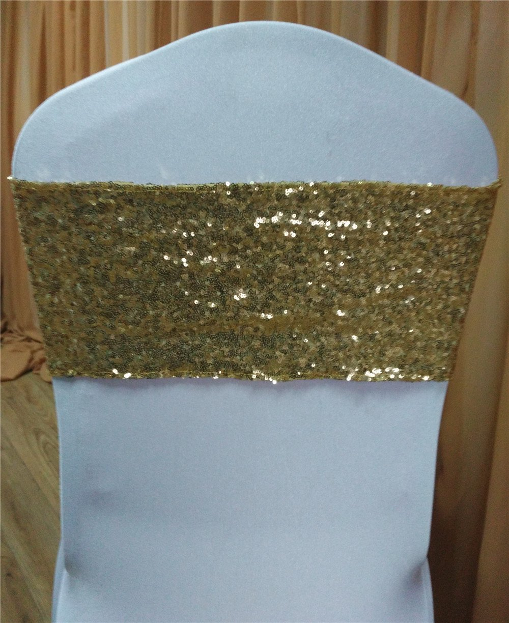 50pcs gold sequins back chair band with white plain lycra front