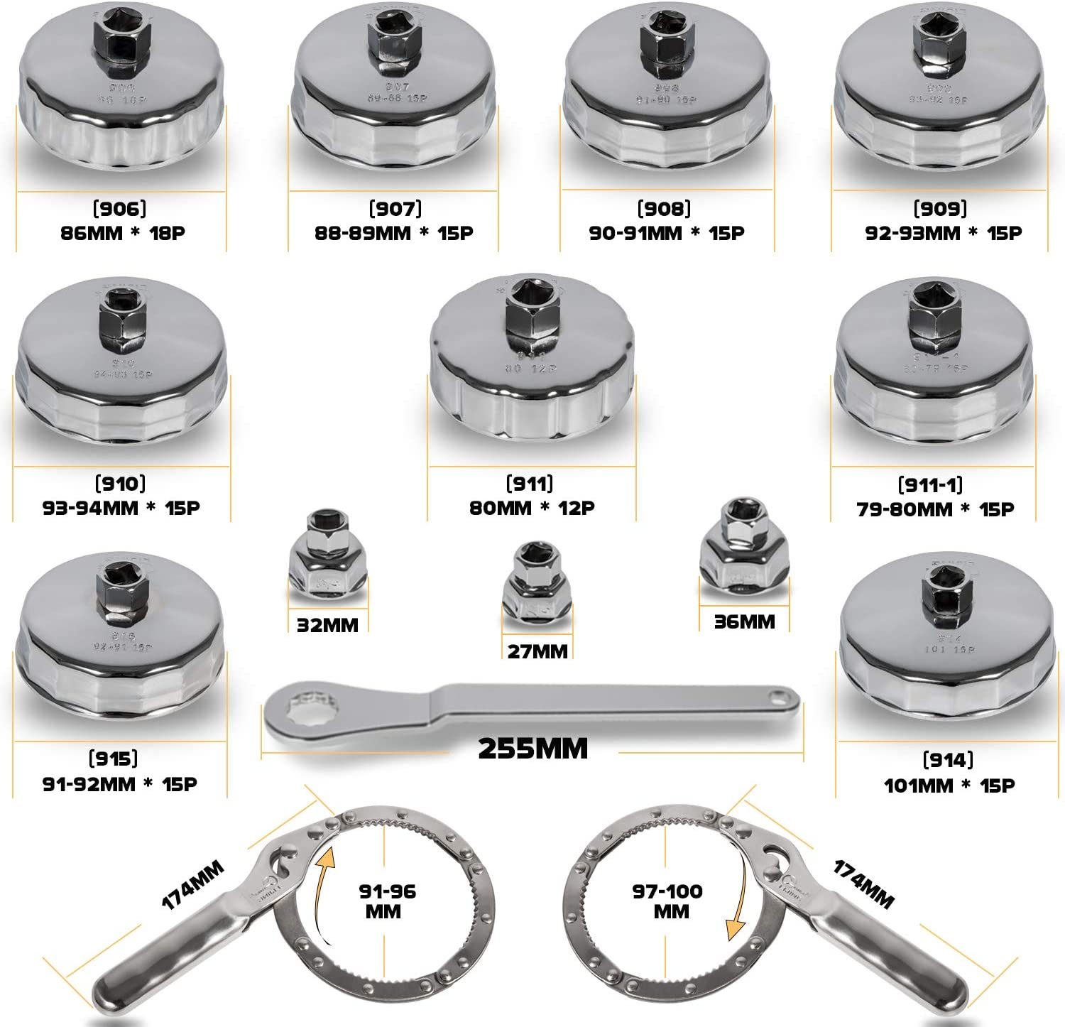 Sunluway 31 PCS 3//8 inch Drive Oil Filter Socket Cup Type Cap /& Adjustable Oil Filter Wrench Removal Tools Set