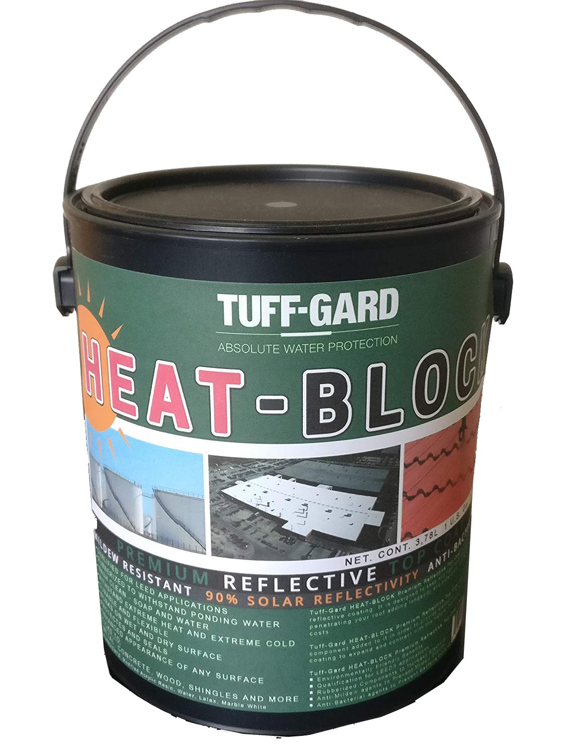 HEAT-BLOCK - 1 Gallon - White Highly Reflective Cool Roof Paint - Solar Reflective - Cool Roof - Waterproof - Environmentally Friendly - No Solvents or VOC's - Easy to Apply - No Mixing