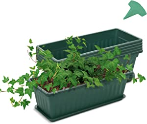 GROWNEER 6 Packs 17 Inches Green Flower Window Box Plastic Vegetable Planters with 15 Pcs Plant Labels, for Windowsill, Patio, Garden, Home Décor, Porch