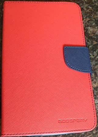 DW Mercury Fancy Diary CARD Wallet Flip Case Back Cover for Samsung Galaxy Tab 3 7inch P3200   Red Tablet Accessories
