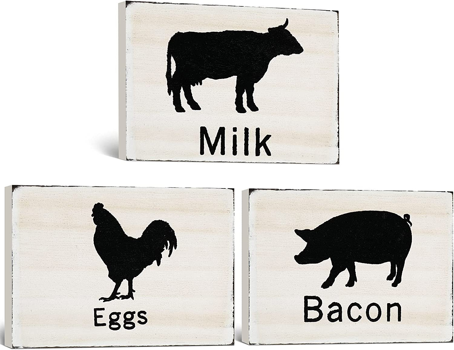 Jetec 3 Pieces Farmhouse Kitchen Signs, Pig and Rooster Decor Signs Farmhouse Wooden Wall Decor Signs Country Decorations Wood Kitchen Sign Vintage Wooden Signs for Kitchen Home Decor
