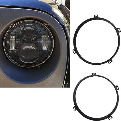 Black 7/'/' Round Headlight Mounting Bracket Ring For 1997-2006 Jeep Wrangler TJ