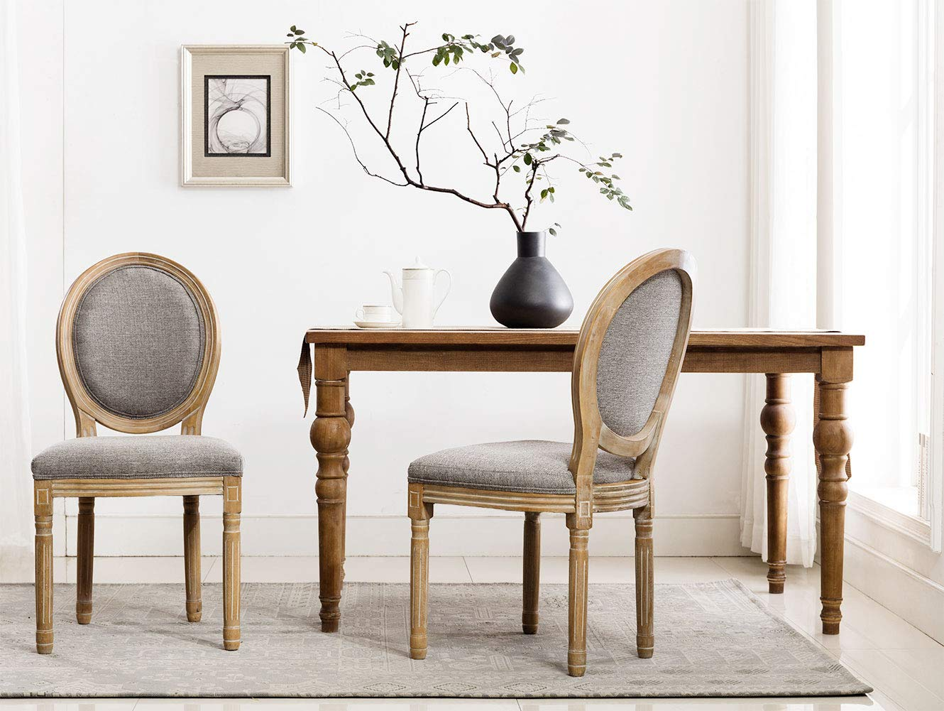 French Dining Chairs, Distressed Elegant Tufted Kitchen Chairs with Carving Wood Legs & Round Back - Set of 2 - Gray by Chairus