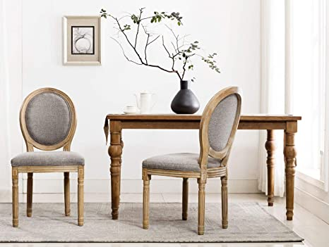 Wondrous Chairus French Dining Chairs Distressed Elegant Tufted Kitchen Chairs With Carving Wood Legs Round Back Set Of 2 Gray Caraccident5 Cool Chair Designs And Ideas Caraccident5Info