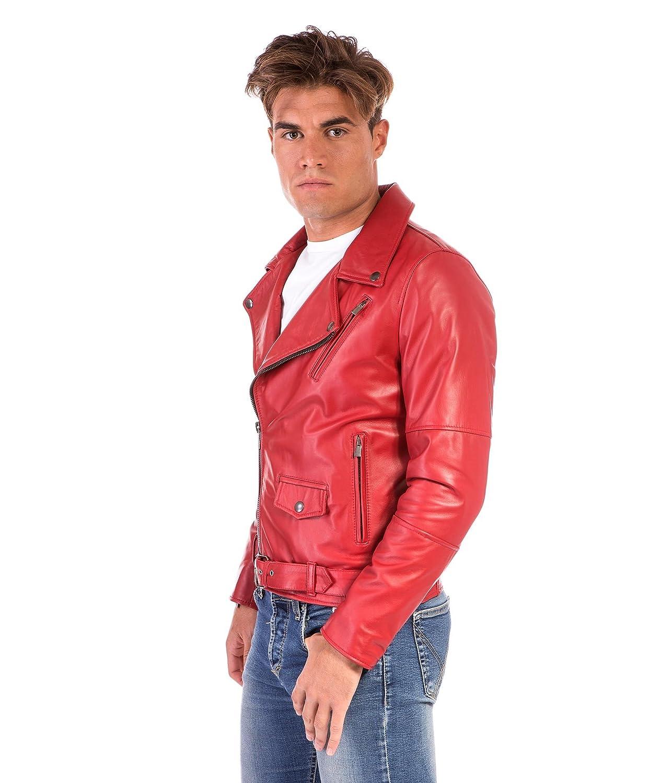 8fe567897d6 DArienzo - CHIODO Biker • Couleur Rouge • Blouson Cuir Homme Perfecto Cuir  dagneau plongé
