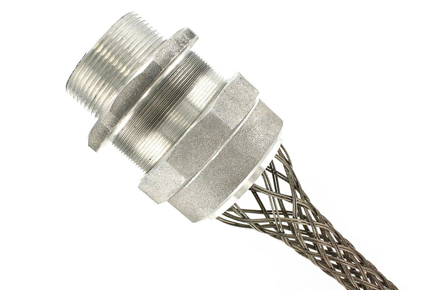 Leviton L7755 3-Inch, Straight, Male, Aluminum Body, Deluxe Cord Sealing Strain-Relief, 3.000, 3.250 Cord Range