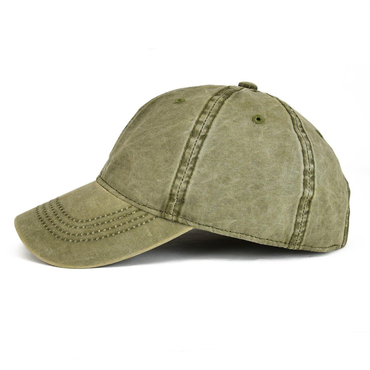 ee44b94ec32 VOBOOM Men Washed Cotton Vintage Dad Hat Adjustable Baseball Cap Trucker Hat  (Army Green) at Amazon Men s Clothing store