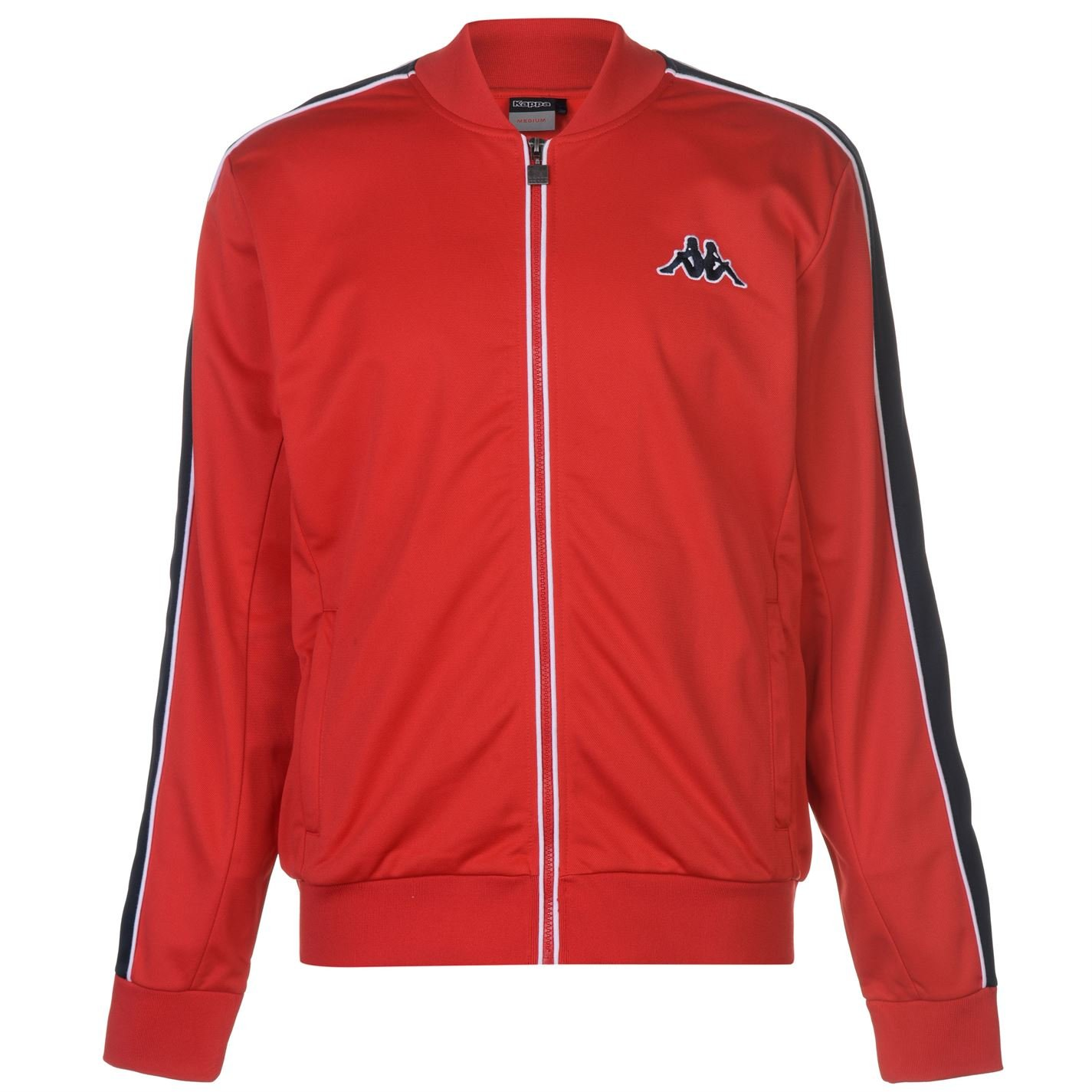 Kappa Mens Tri Colour Jacket Tracksuit Top Coat Long Sleeve Lightweight Zip Full Red Small