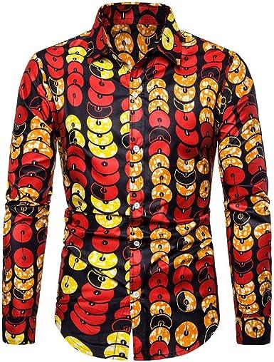 SoonerQuicker Camisas de Hombre Hombres Casual Estampada Vintage Slim Camisa de Vestir de Manga Larga Blusa Tops T Shirt tee: Amazon.es: Ropa y accesorios