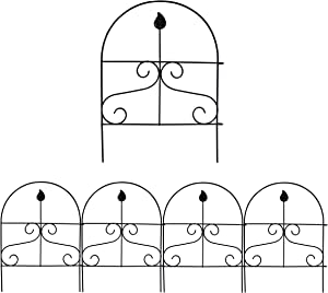 YOUKOOD Decorative Garden Fence 18inx13in Fencing Ornamental Panel Border Edge Section Edging Patio Fences Flower Bed Outdoor,Pack of 4 Set