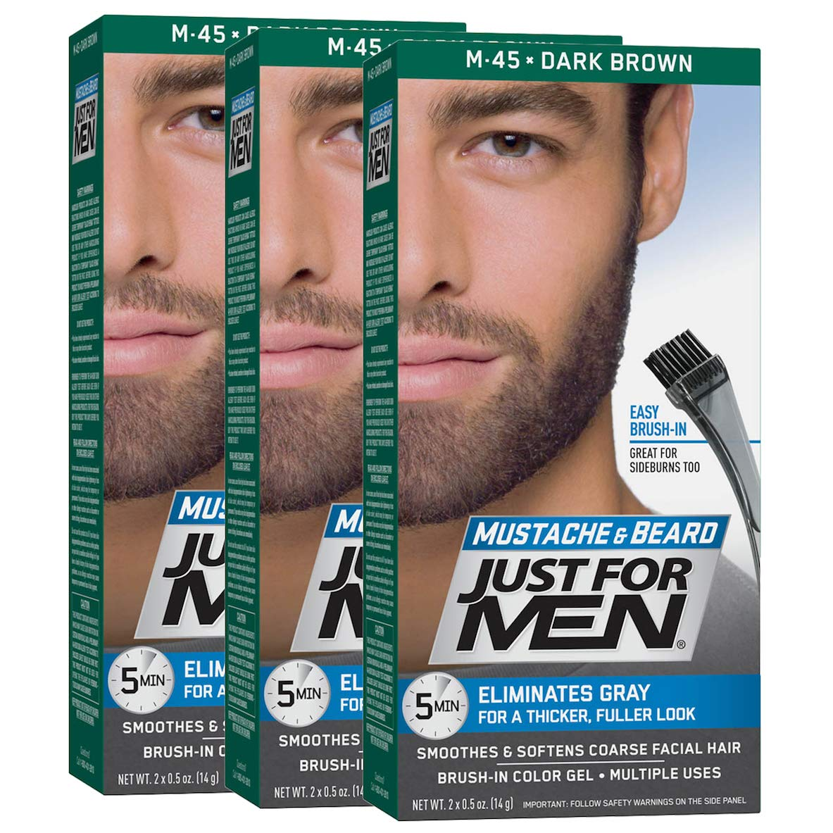 Just For Men Mustache and Beard Brush-In Color Gel, Dark Brown (Pack of 3) 011509049049