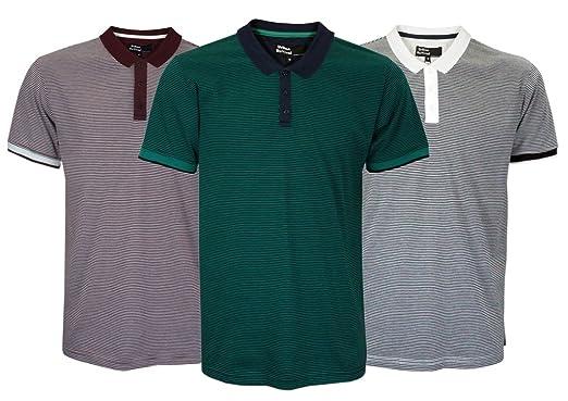 B152) Moda Hombre Cuello Polo cuello Camiseta con Todo Angostas ...