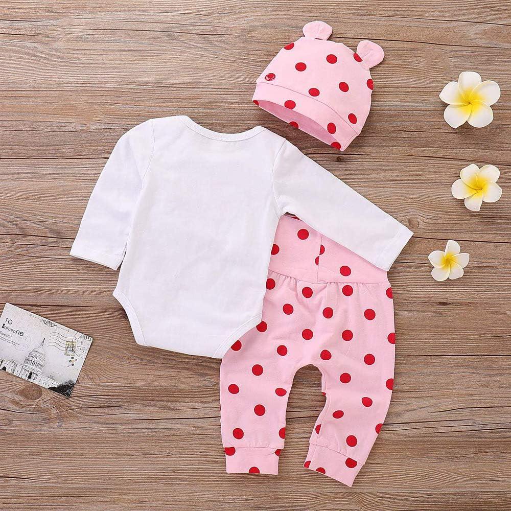Afocuz 3Pcs Newborn Baby Girl Boy Long Sleeve Cartoon Giraffe Print Romper Polka Dot Pant Outfits