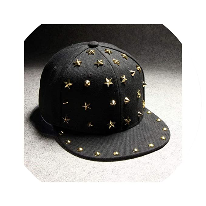 Amazon.com: Punk Rock Metal Rivet Stars Hip Hop Cap Baseball Caps Black Hats Gorras for Men Women,Gold: Clothing