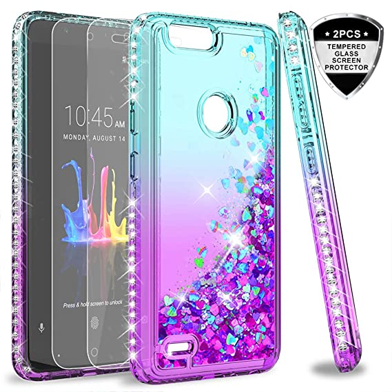 reputable site e8448 b69ba ZTE Blade ZMax Case, Blade ZMax Pro 2 / Sequoia case with Tempered Glass  Screen Protector for Girls Women, LeYi Bling Liquid Quicksand Glitter Phone  ...