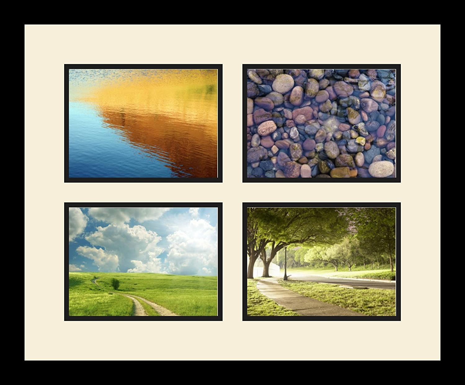 Art to Frames Double-Multimat-534-760//89-FRBW26079 Collage Photo Frame Double Mat with 4-6x8 Openings and Satin Black Frame