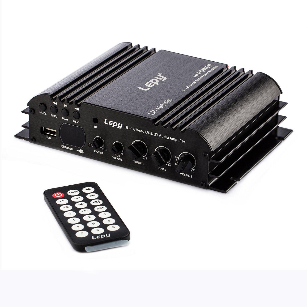 Lepy LP-168plus Hi-Fi Stereo USB BT Audio Amplifier with Power Adapter& Remote Control LP-Amp168PLUS