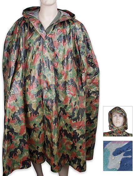 Heavy Duty Swiss Military Camouflage Poncho